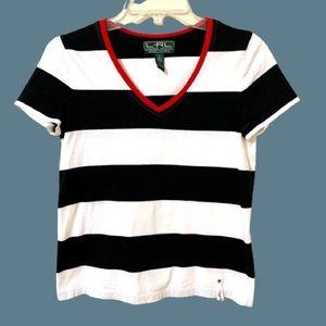 Lauren Ralph Lauren Black/White Striped Shirt Sz S